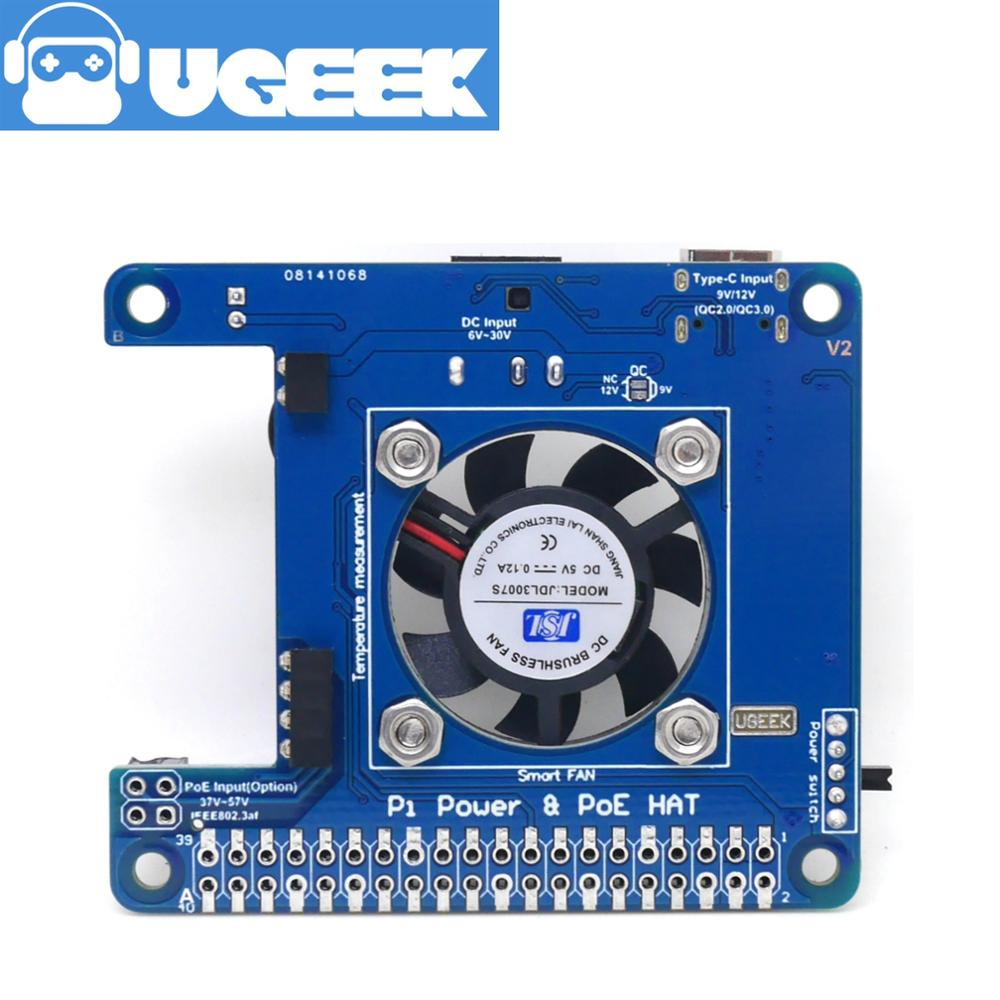 UGEEK Pi Power HAT For For Raspberry Pi 4|Solved The Pi4 Power Bug|POE|With Smart Temperature Control Fan|6V~14V Input|4A Outmax