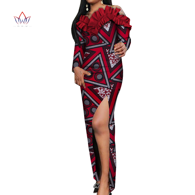 Dashiki African Dresses for Women Colorful Daily Wedding African Dresses for Women Ankle-Length Long Sleeve Dress African WY5465