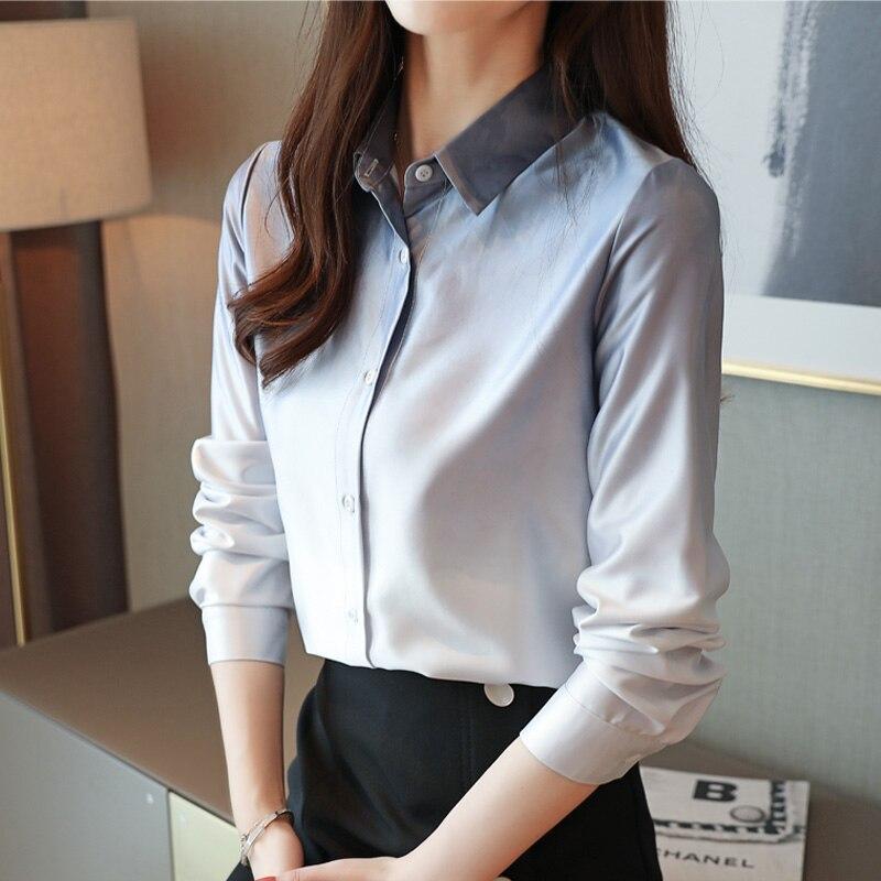 Korean Fashion Silk Women Shirts Solid Autumn Pink Women Blouses Plus Size XXL Blusas Femininas Elegante Ladies Tops