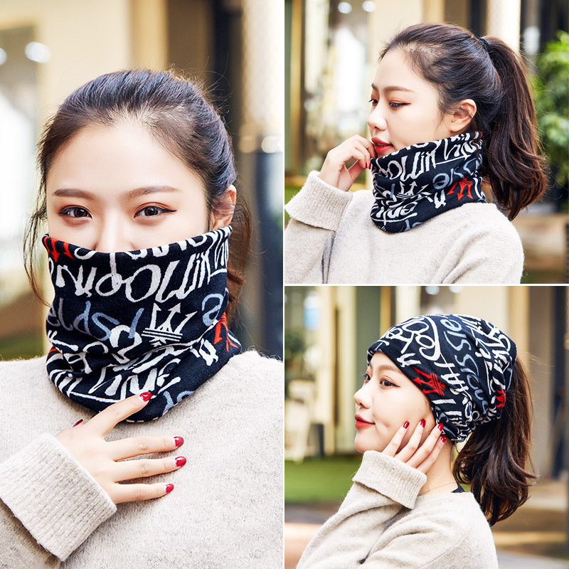 New Style Thick Warm Scarf Hat Dual Purpose Students Korean-style Versatile Pullover Bandana Fashion