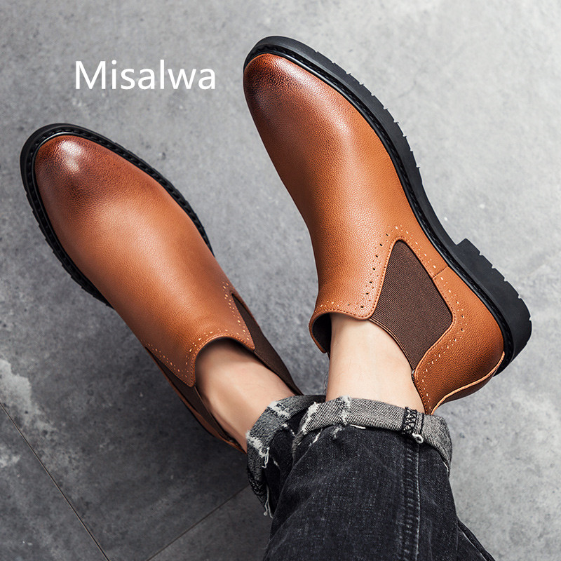 Misalwa Men's Leather Chelsea Boots Winter Casual Ankle Combat Boots For Men Classic Comfortable Dress Shoes Short Boots 38-45