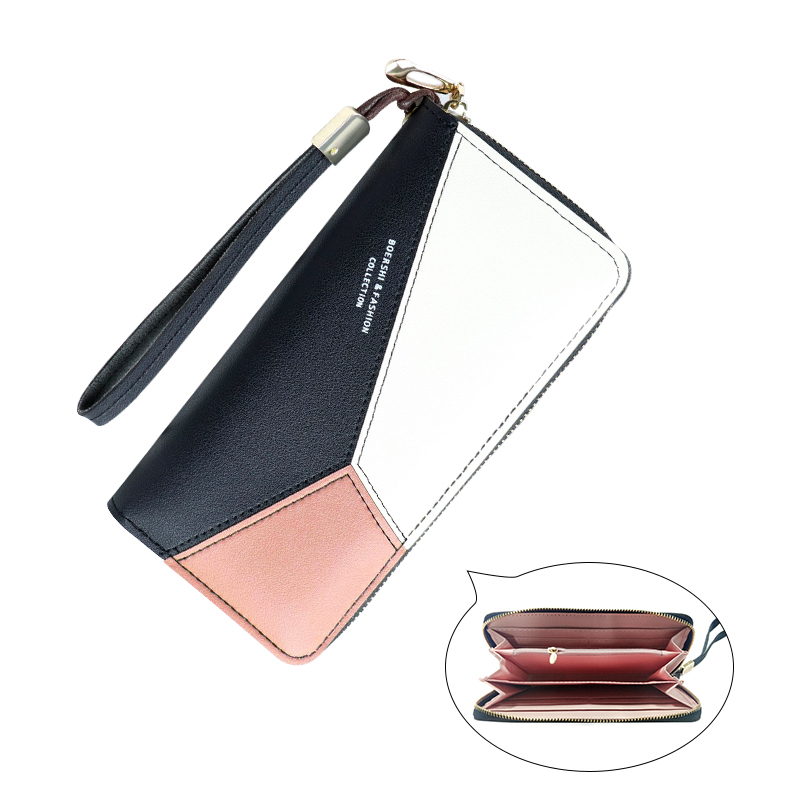 RICORIT Leather Wallet Women Purse Long Clutch Ladies Card Holder Tassel Zipper Coin Money Pocket Bag Female Color Wallets
