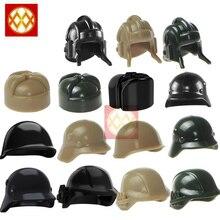 10 Stks/partij WW2 Moc Soldaat Cap Trooper Helm Militaire Hoed Gas Masker Bouwstenen Bricks Uk Ons Duitse Leger Jongens geschenken Speelgoed