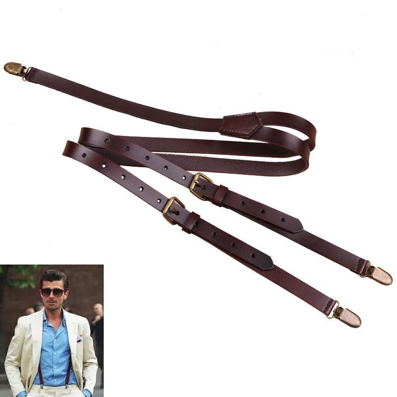 British Style 3 Clips Mens Leather Suspenders Vintage Adjustable Suspender Bronze Strap Pant Braces Y-Back Casual Suspenders