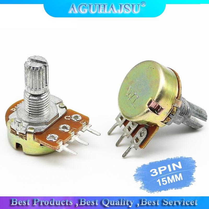 5 шт./лот резистор потенциометра 1K 2K 5K 10K 20K 50K 100K 500K Ом 3 контакта 15 мм линейный конический роторный потенциометр