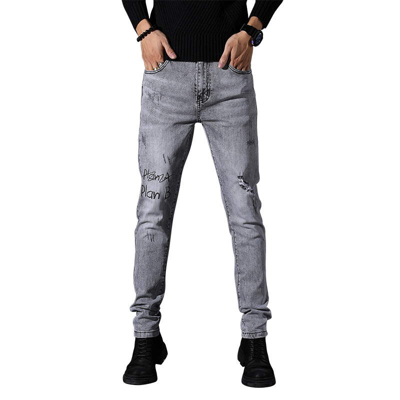 EVES Letters Plan B Trouser Man Denim Ripped Gray Pencil Streetwear Zipper Casual Fashion Destroyed Men Jean Pant Male With Hole