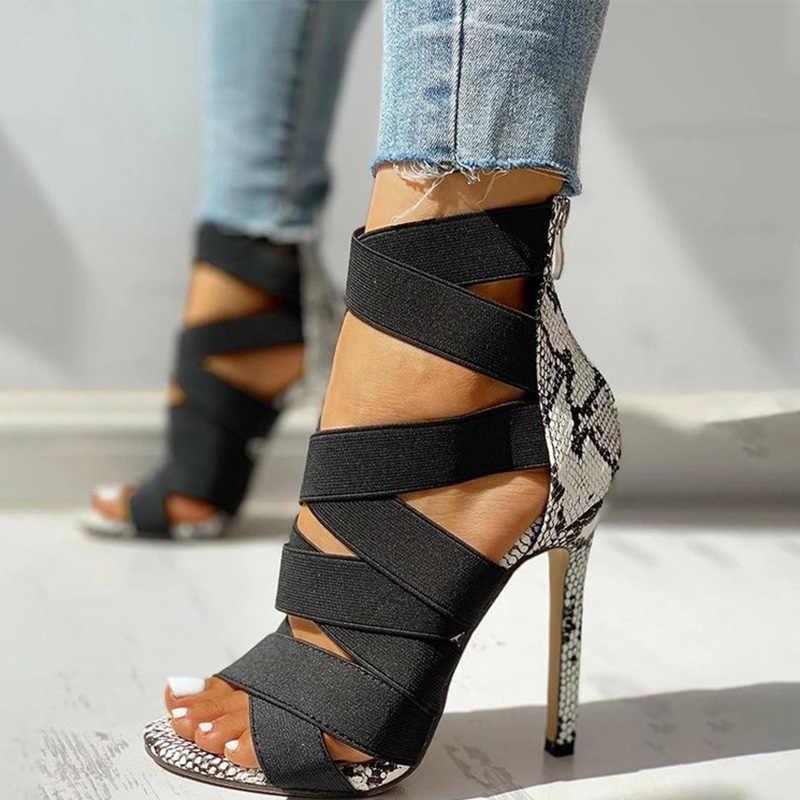 Kadın sandalet seksi gladyatör bayanlar yılan derisi ince yüksek topuklu kadın yaz pompaları kadın ayakkabısı Sandalias Mujer 2020
