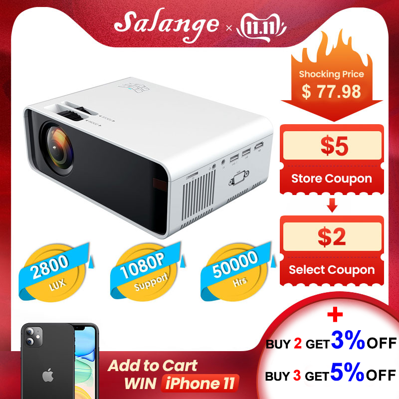 Salange 720P Projector P48 LED Projector Video Home Cinema 3D HDMI Movie Game Proyector Optional WiFi Android-in LCD Projectors from Consumer Electronics