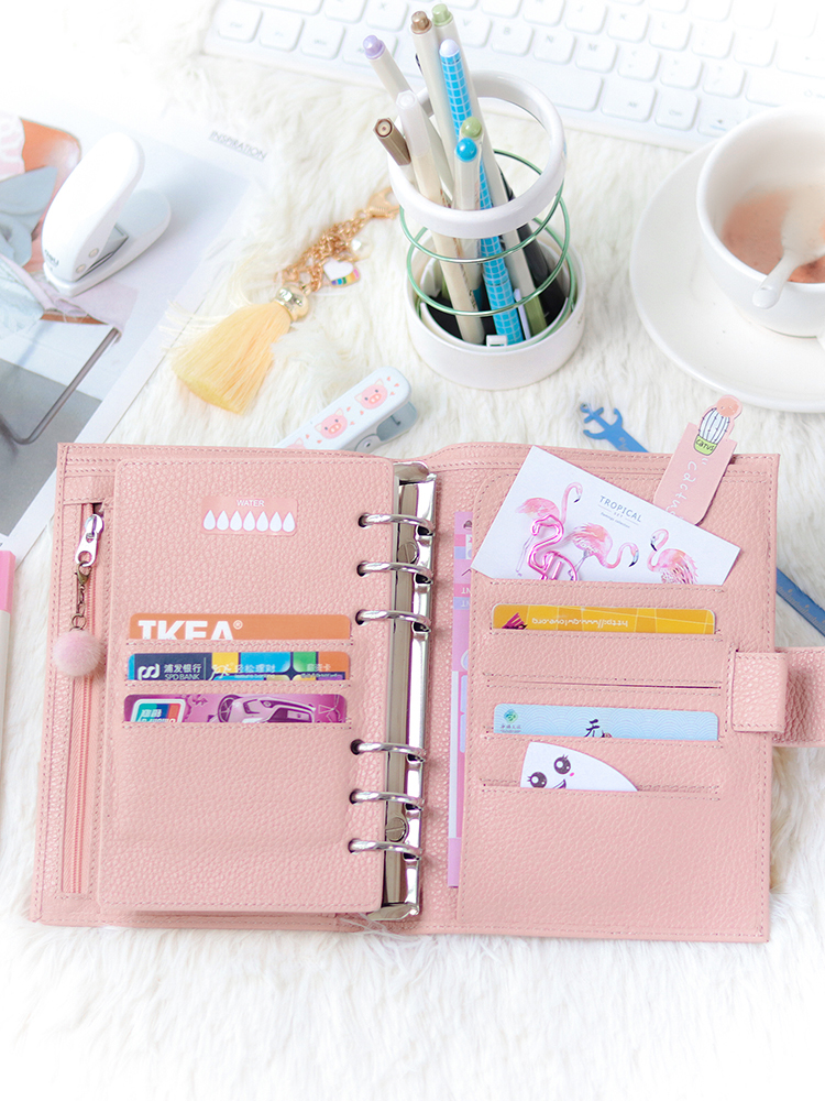 Personal-Size-Planner Binder-Rings Notebook Diary Journal Agenda-Organizer Moterm Genuine-Leather