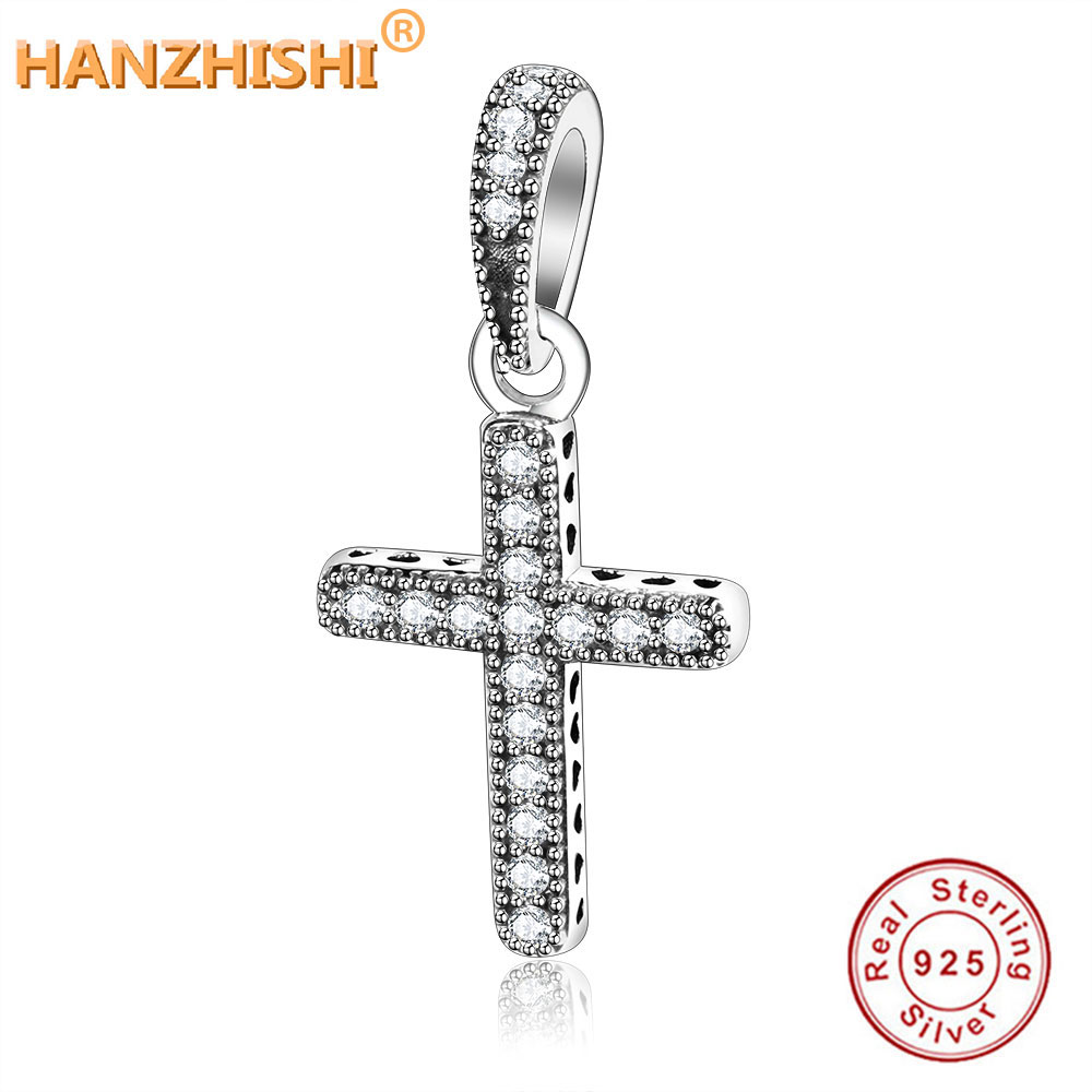 2018 Christmas 925 Sterling Silver Classic Cross Pendant Charms Clear CZ Fit Original Fine Charms Bracelet Beads DIY Jewelry(China)