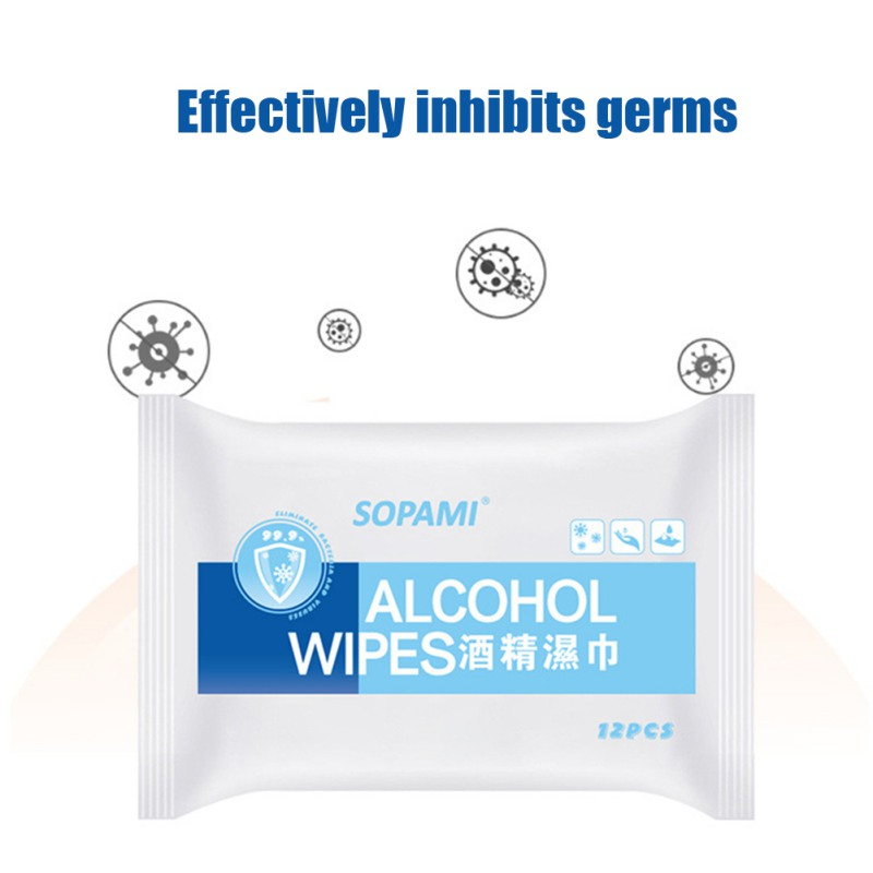 12pcs / Pack Medical Disinfection Portable Alcohol Swabs Pads Wipes Antiseptic Cleanser Cleaning Sterilization Disinfection Wips