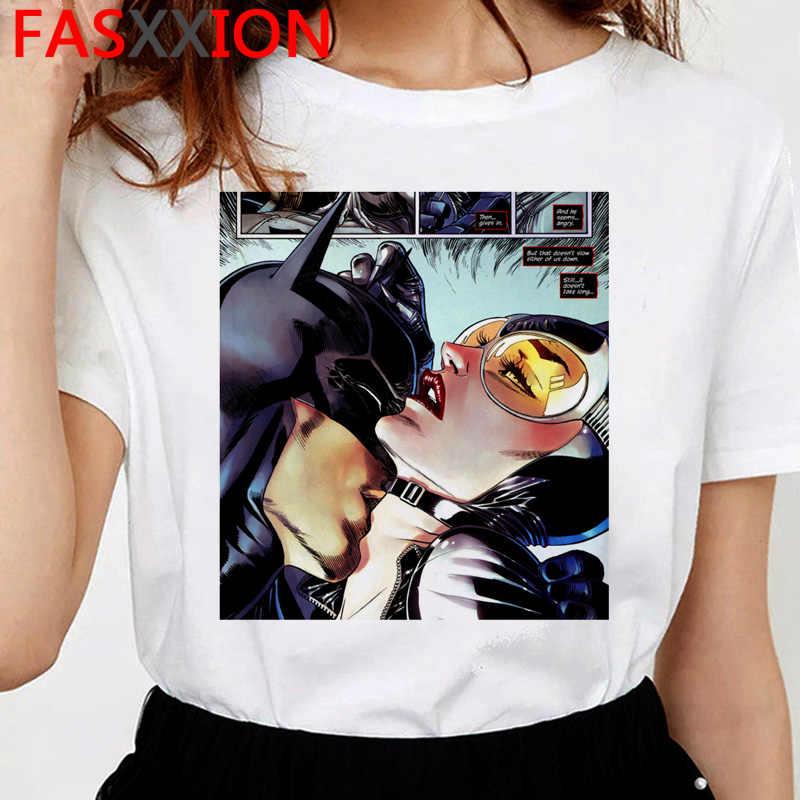 Batman i Catwoman pocałunek t-shirt kobiety śmieszne ulzzang kawaii t shirt cartoon 90s Casual grunge estetyczny tshirt damski top z krótkim rękawem