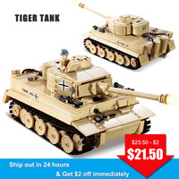 KAZI 82011 Military Armored War Chariot German Armored Force Tiger Tank Soldiers Figures Educational Building Blocks Toys Kids