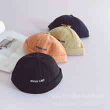 Estilo japonês harajuku crianças chapéu de pele infantil meninos e meninas bordado do bebê chapéu redondo hip hop estilo chapéu senhorio chapéu