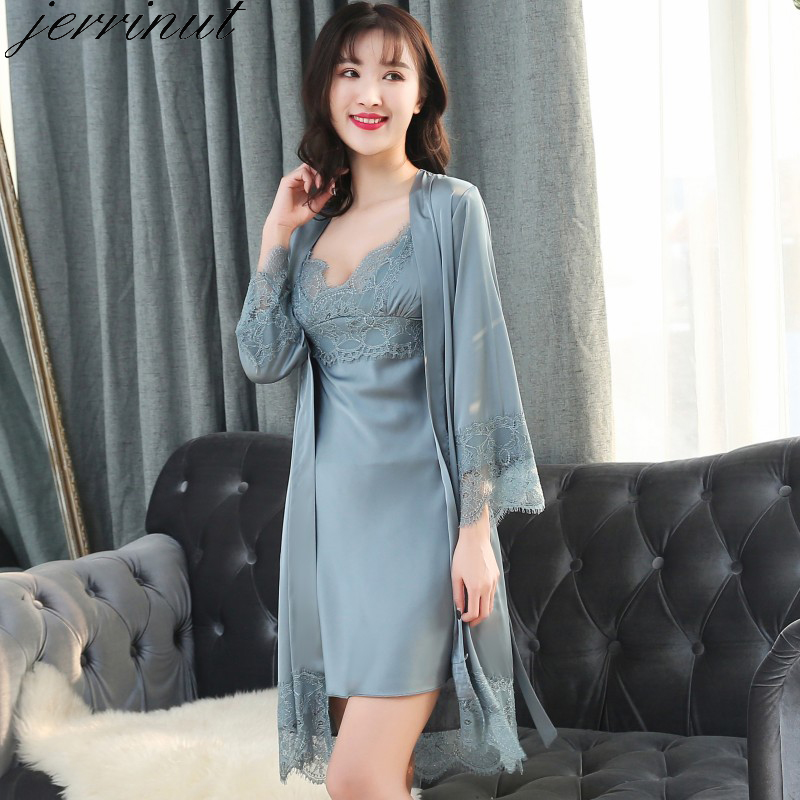 Jerrinut Silk Stain Robe Nightgown Summer Lace Night Dress Sleepwear Nightie Homewear  M L XL 2XL Lingerie Bathrobe Gown