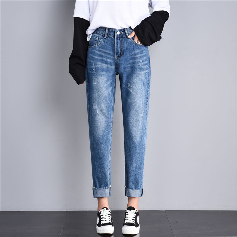 2019 New Fashion High Waist Jeans Woman Solid Pockets Loose Mom Jeans Washed Scratched Retro Long Trousers Casual Ropa Mujer