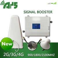 900 1800 2100 mhz amplificador de señal móvil de triple banda 2G 3G 4G LTE repetidor celular GSM DCS WCDMA Set