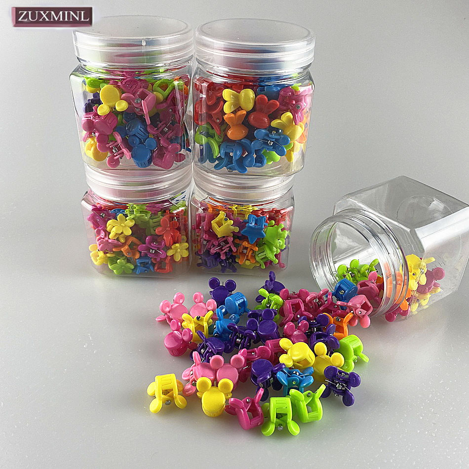50PC/set Candy Color Flower Crown Rabbit Ear Mini Hair Claw Crab Clips For Girls Cute Hairclips Kid Hair Beads Hairpin Wholesale Girl