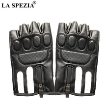 LA SPEZIA Fingerless Gloves Men Real Sheepskin Black Leather Winter Lifting Workout Exercise Driving Tactical
