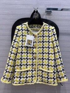 Luxury Brand Women Plaid Woolen Coat 2020 Autumn Fashion High-end Design Woven Soft Contrast Color Twist O-Neck Jacket Coats New