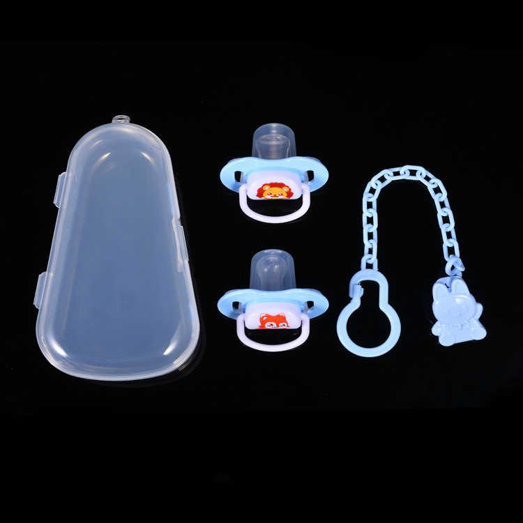 Bebê chupeta conjunto de silicone mamilo + corrente combinação bebê dormir chupeta 2 mamilo 1 corrente 1 caixa armazenamento chupeta à prova de poeira