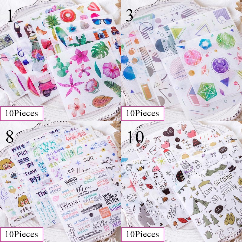 10Sheets Cute Flamingo Stationery Washi Stickers Flowers Adhesive Stickers For Kids DIY Decoration Diary Scrapbooking Supplies