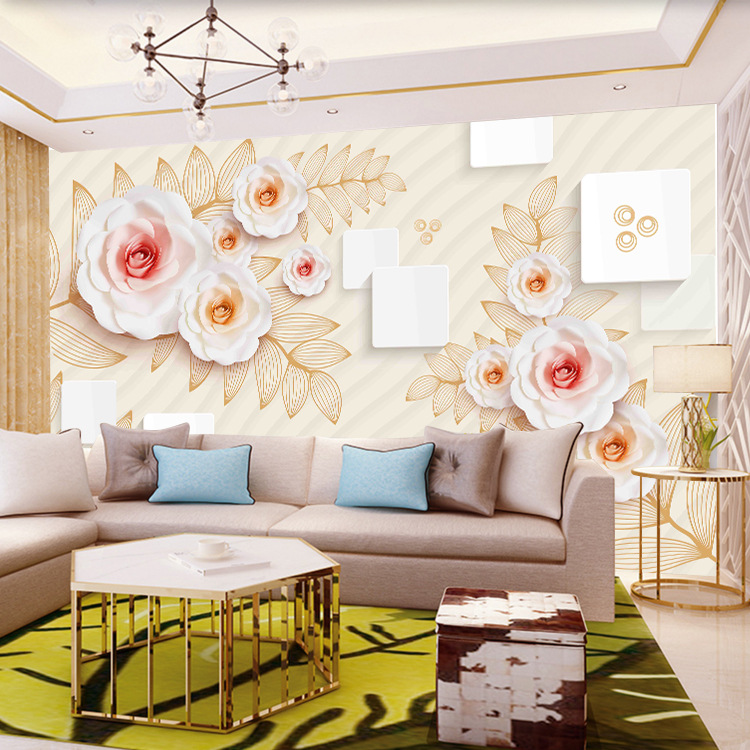 3D TV Backdrop Wallpaper European Style Crystal Living Room Wallpaper Bedroom 5D Stereo Mural Film And Television Seamless Wall