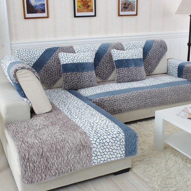 Four seasons European plush sofa cushions. Cloth winter simple modern non-slip flannel cover