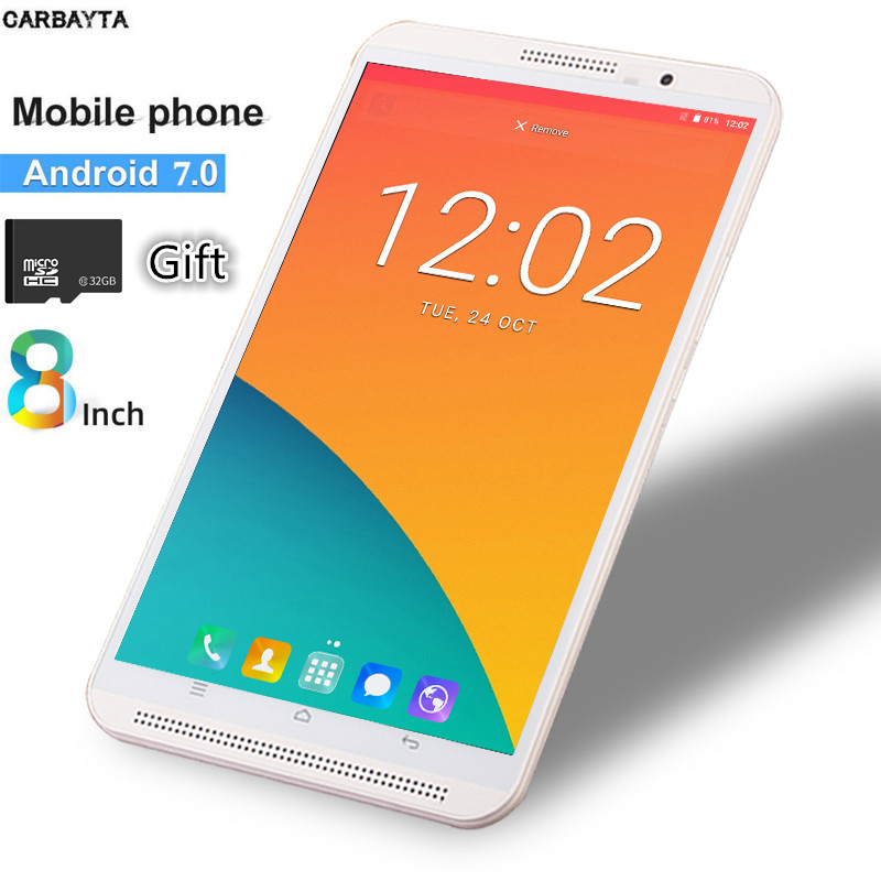 Gift 32GB HC TF Card Phablet Tablets 8 Inch Mobile Phone Call Tablet Pc  4G Android 7.0 3G 4G LTE Dual SIM WiFi Bluetooth GPS
