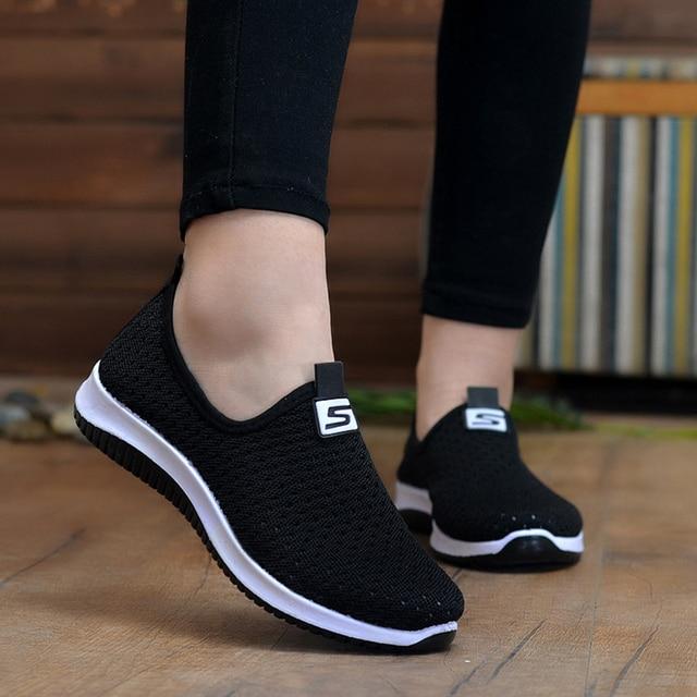 Zapatillas de deporte vulcanizadas 2020 para mujer, zapatos de malla para mujer, calzado informal antideslizante sólido y poco profundo, transpirables para mujer 3