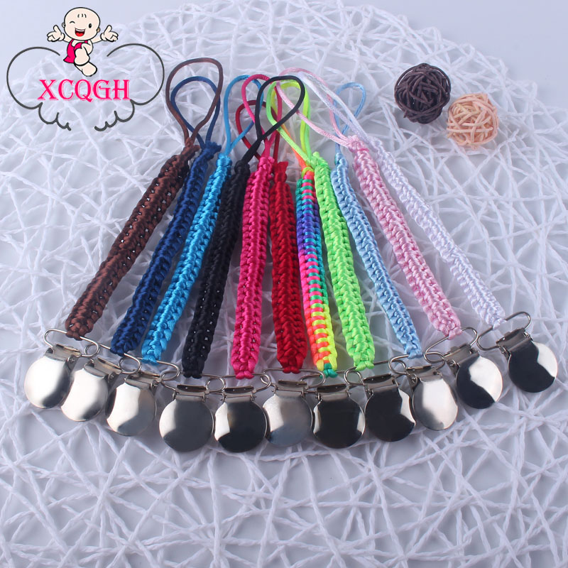 XCQGH 1Pcs Handmade Baby Pacifier Clip Colorful Pacifier Chain For Newborn Teething Soother Chew Dummy Clips