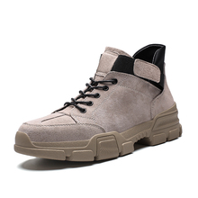 Men shoes leather fashion mid Tops Male boots Luxury