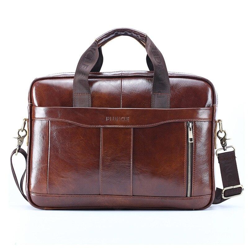 New Vintage 100% Cow Genuine Leather Business Men's Briefcase Male Shoulder Bag Real Leather Men Messenger Bag Tote Computer Bag