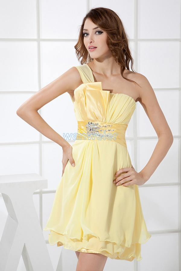 Free Shipping 2015 New Arrival Hot Sexy Plus Formal Gown One Shoulder Short Mini Custom Yellow Chiffon Bridesmaid Dresses
