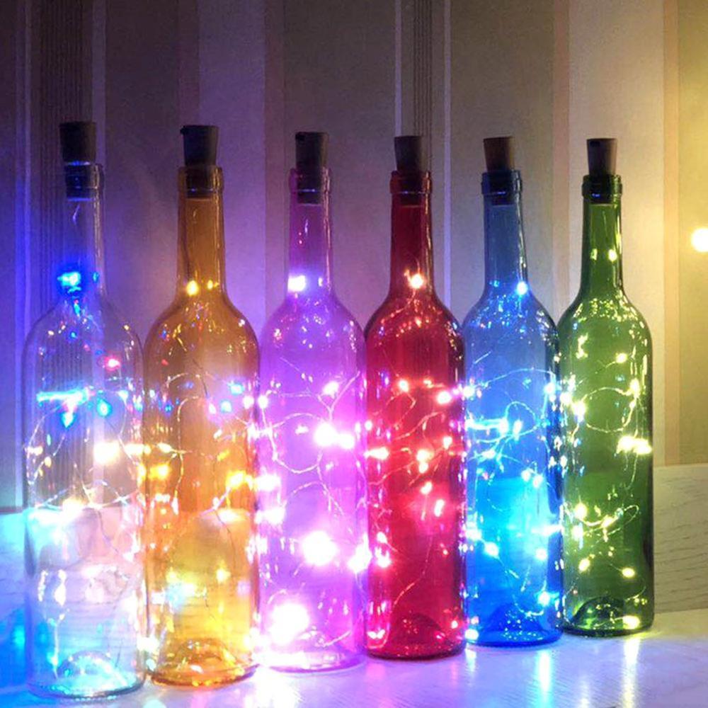 10LED Solar Powered Wine Bottle Lights Romantic Cork Fairy Lights Christmas Light LED Copper Garland Wire Fairy String Lights