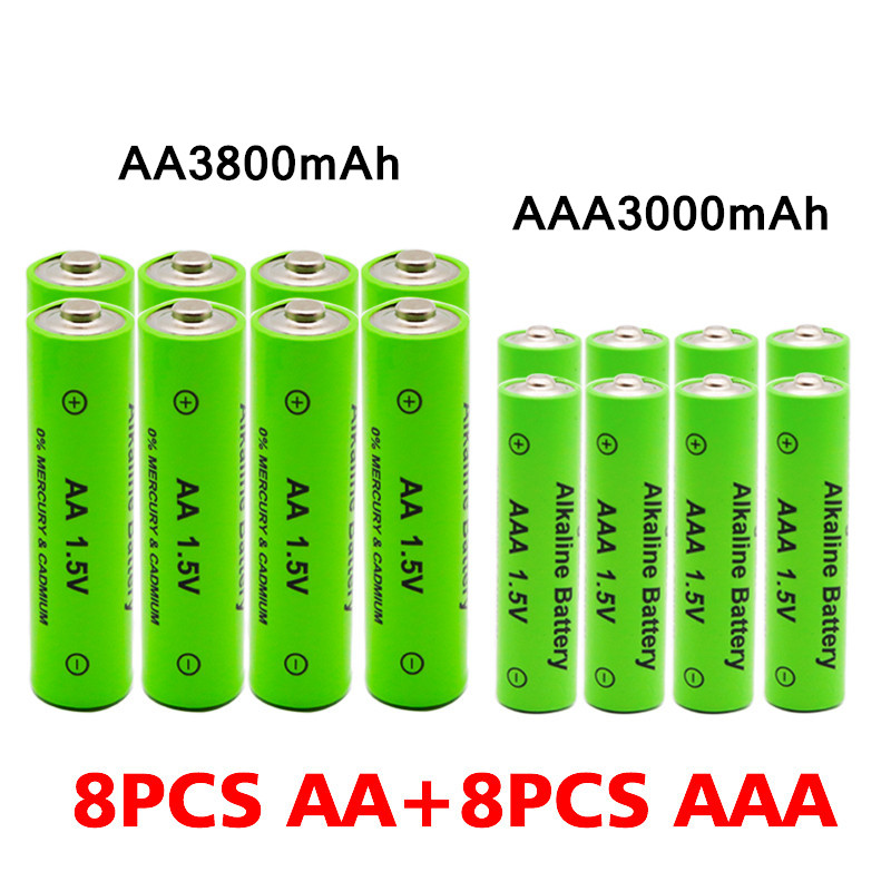 AA + AAA Rechargeable AA 1.5V 3800mAh / 1.5V AAA 3000mah Alkaline Battery Flashlight Toys Watch MP3 Player Replace Ni-Mh Battery 5