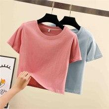 Été 13 couleurs Haut Court T-Shirt Femme Solide O-cou À Manches Courtes T-shirts Pour les femmes Mince Sport court Blanc Fille T-Shirt court