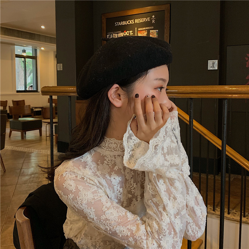 Fashion Women Lace Blouses Shirts Transparent Blouse Sexy Mesh Inside Tops Elegant Korean Mujer Solid Color Ladies Work Shirt