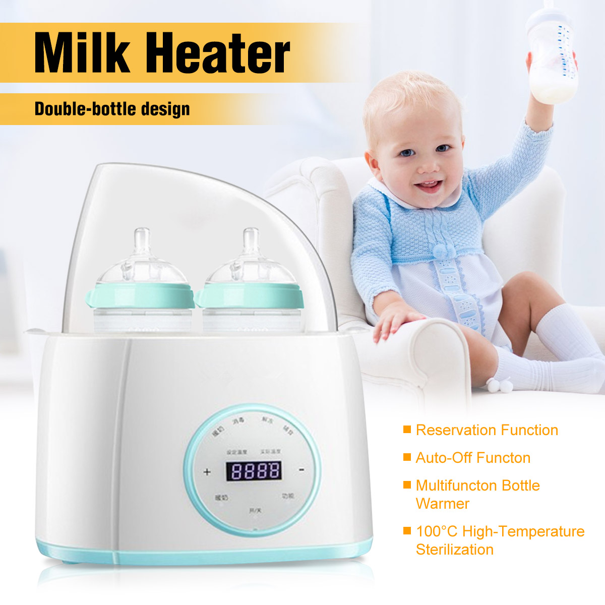 6 In1 Milk Warmer Heater Universal Double Bottle Sterilizer For Breast Milk Feeding Baby Food Intelligent Thermostatic System
