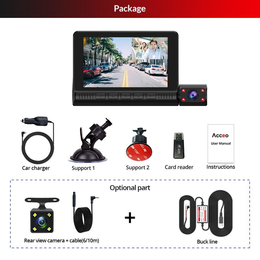 ACCEO Car DVR 3 Cameras Lens 4.0 Inch Dash Camera Dual Lens With Rearview Camera Video Recorder Auto Registrator Dvrs Dash Cam 6
