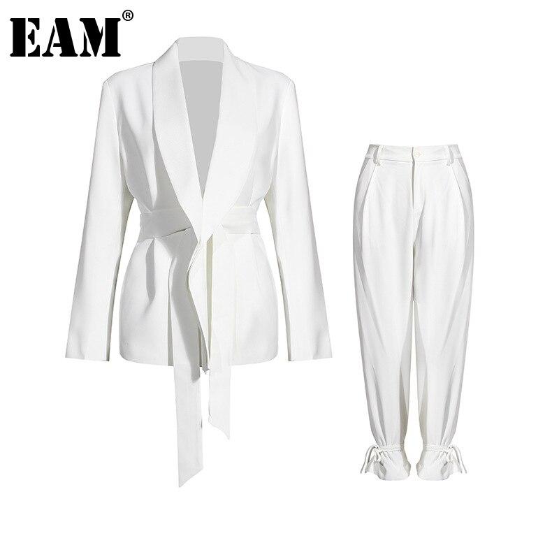 [EAM] szerokie spodnie nogi duży rozmiar bandaż dwuczęściowy garnitur nowa z klapami z długim rękawem luźny krój kobiety moda wiosna jesień 2021 1DA241