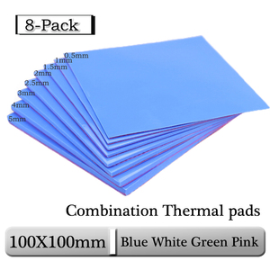 8pcs Gdstime 100x100x0.5mm 1mm 1.5mm 2mm 2.5mm 3mm 4mm 5mm Blue White Green Combination Thermal Pads Cooling Conductive Silicone(China)