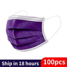 Mascarilla desechable de 3 capas para adultos, máscara transpirable con filtro, color morado, 10/50/100/200 Uds.