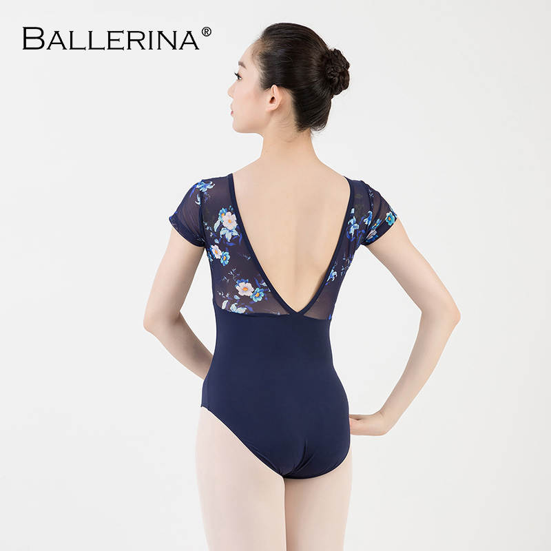 Image 2 - women ballet short sleeve printing leotard adulto Dance Costume short sleeve ballet practice leotard Ballerina 3532Ballet   -