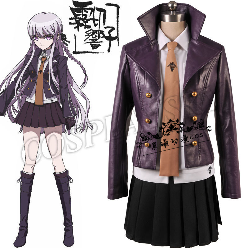 Danganronpa Dangan Ronpa Kyoko Kirigiri Cosplay Costume Coat Skirt Shirt Tie Gloves and Wigs,Customized Size Accepted