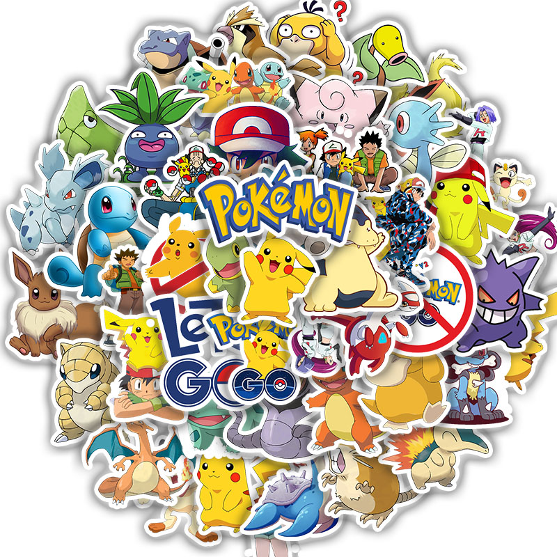 50pcs Pokemoner Stickers Cartoon Graffiti Sticker Stickers For Laptop Luggage Skateboard Phone  Eason Sticker DIY Scrapbooking