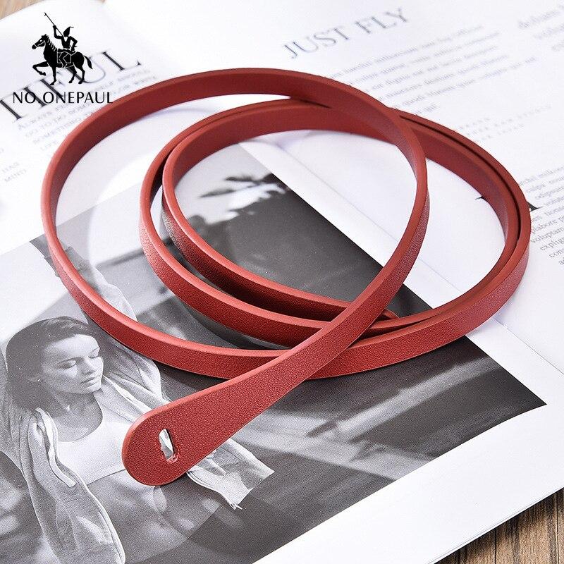 NO ONEPAUL Simple dress decorated ladies leather fashion elegant belt fashion designer design slim waist high quality new belt in Women 39 s Belts from Apparel Accessories