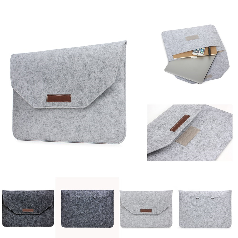 Soft Sleeve Wool Felt Laptop Bag For Macbook Air Pro Retina 11 12 13 13.3 14 15.4 15.6 inch PC Case <font><b>Cover</b></font> for HP Dell <font><b>Mac</b></font> book image