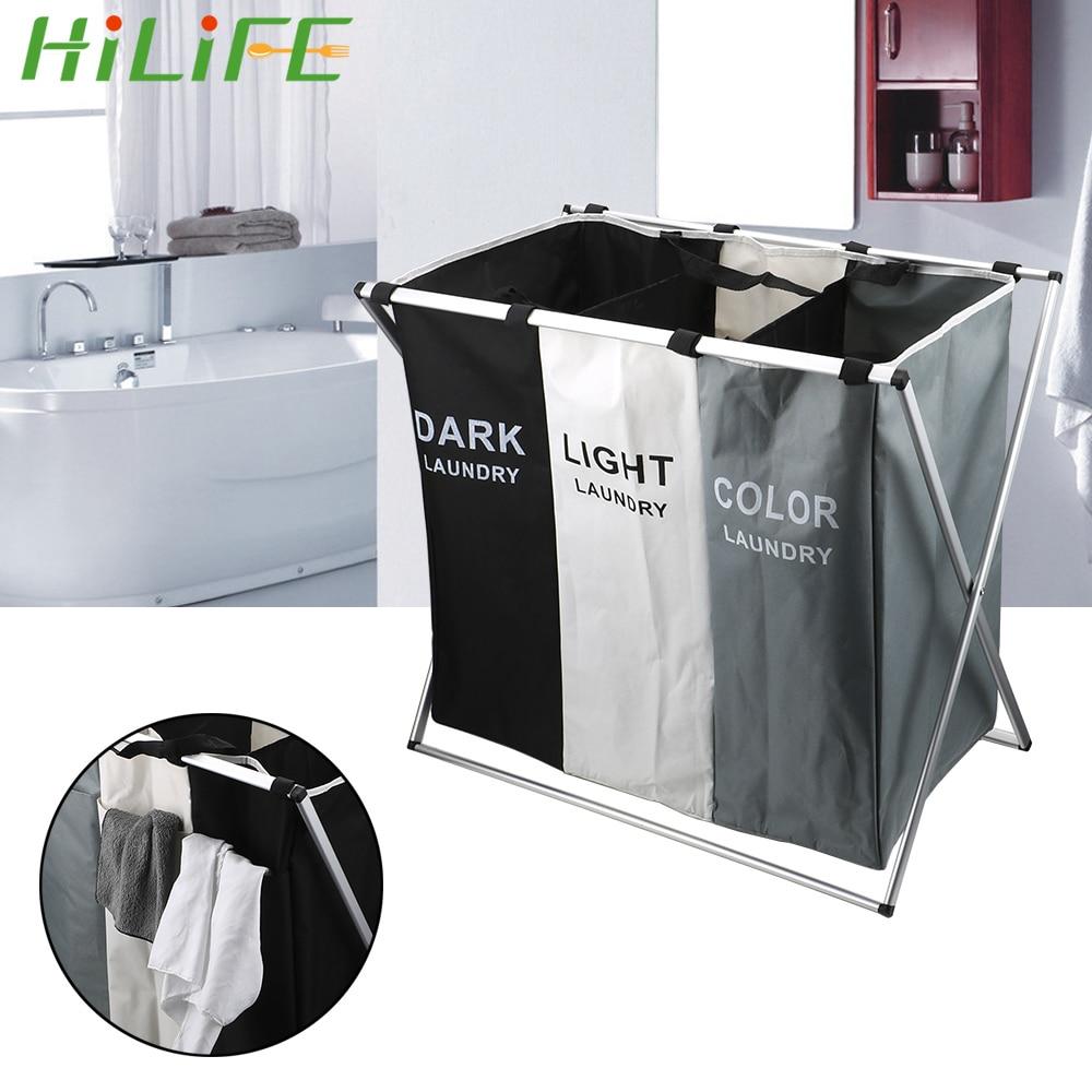 HILIFE X Shape Foldable Home Laundry Hamper Sorter Laundry Basket Large Two/Three Grid Dirty Laundry Basket Organizer|Laundry Bags| |  - title=