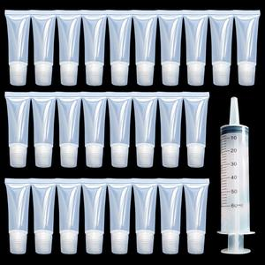 30 Pieces 10 ml DIY Lip Gloss Tubes Clear Empty Containers Refillable Empty Tubes and 1 Piece 60 ml Plastic Syringe for Women